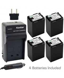 Kastar BP-827 Battery (4-Pack) and Charger Kit for Canon BP-827, CG-800 work with Canon VIXIA HF10, HF11, HF20, HF21, HF100, HF200, HF G10, HF M30, HF M31, HF M32, HF M40, HF M41, HF M300, HF M400, HF S10, HF S11, HF S20, HF S21, HF S30, HF S100, HF S200,