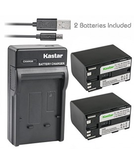 Kastar Battery X2 + Slim USB Charger for Canon BP-970G BP-975 & EOS C100, EOS C100 Mark II, EOS C300 C300 PL, EOS C500 C500 PL GL2 XF100 XF105 XF200 XF205 XF300 XF305 XH A1S, XH G1S, XL H1A XL H1S XL2