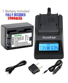 Kastar Ultra Fast Charger(3X faster) Kit and Battery BP-718F (FULLY DECODED) (1-Pack) for Canon BP-727, BP-718, BP-709, CG-700 and Canon VIXIA HF M50, HF M52, HF M500, HF R30, HF R32, HF R40, HF R42, HF R50, HF R52, HF R60, HF R62, HF R300, HF R400, HF R5