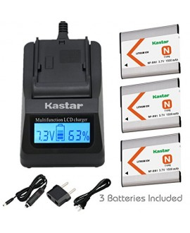 Kastar Ultra Fast Charger(3X faster) Kit and Battery (3-Pack) for NP-BN1, BC-CSN work with Sony Cyber-shot DSC-QX10,DSC-QX100,DSC-T99,DSC-T110,DSC-TF1,DSC-TX5,TX7,TX9,DSC-TX10,DSC-TX20,DSC-TX30,DSC-TX55,DSC-TX66,DSC-TX100V,DSC-TX200V,DSC-W310,W320,W330,W3