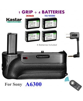 Kastar Infrared Remote Control Professional Vertical Battery Grip (Built-In 2.4G Wireless Contro) + 4 x NP-FW50 Replacement Batteries for Sony ILCE-A6300 / A6300 Digital SLR Camera