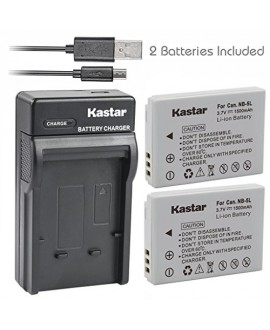 Kastar Battery (X2) & Slim USB Charger for Canon NB-5L and Powershot S100 S110 SX230 HS SX210 IS SD790 IS SX200 IS SD800 IS SD850 IS SD870 IS SD700 IS SD880 IS SD950 IS SD890 IS SD970 IS SD990 IS