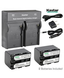 Kastar Dual Smart Fast Charger & 2 x Battery for Sony NP-QM71D NP-QM91D NP-FM55H NP-FM70 NP-FM90 NP-QM91 and CCD-TRV338 350 608 DCR-DVD300 301 DCR-PC115 120 330 DCR-TRV6 Camera