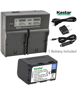 Kastar LCD Dual Smart Fast Charger & Battery (1 PACK) for JVC SSL-JVC50 and JVC GY-HMQ10, GY-LS300, GY-HM200, GY-HM600, GY-HM600E, GY-HM600EC, GY-HM650 Camcorders