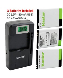 Kastar BP-3L Battery (3-Pack) and intelligent mini travel Charger ( with high speed portable USB charge function) for Nokia Lumia 710 Sabre, N303, N603, 610, 3030, Asha 303, Lumia 510, Glory, Lumia 510.2, AT&T, T-Mobile, Sprint, Verizon Smartphone --Suppe