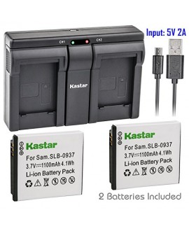 Kastar SLB0937 2x Battery + USB Dual Charger for Samsung SLB-0937 SLB0937 0937 Battery, Samsung Digimax L830, Samsung Digimax L730, Samsung Digimax i8 Digital Cameras