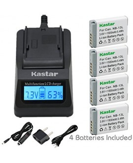 [Fully Decoded] Kastar NB-13L Battery (4-Pack) and Ultra Fast Charger(3X faster) Kit for Canon NB-13L work for Canon PowerShot G5 X, Canon PowerShot G7 X, Canon PowerShot G9 X Digital Camera
