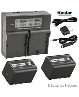 Kastar LCD Fast Charger + Battery 2x for Panasonic AG-VBR59 AG-VBR89G AG-VBR118G AG-BRD50 AG-B23 AG-DVX200 AG-AC8 AG-AC90A AG-DVC30 AG-HPX250 HPX255 AJ-PX230 AJ-PX270 AJ-PX298 AJ-PG50 HC-MDH2 HC-X1000