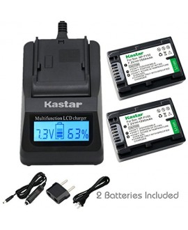 Kastar Fast Charger + Battery (2-Pack) for Sony NP-FV50 NP-FV40 NP-FV30 and AX53 CX675/B CX220 CX230 CX290 CX330 CX380 CX430V CX900 PJ200 PJ230 PJ340 PJ380 PJ430V PJ540 PJ650V PV790V PJ810 TD30V AX100