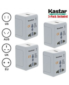 Kastar 4-PACK Safety and Ultra Small Size Universal World-Wide Travel Adapter, with 1000mA USB Charging Port, All-in-one AC Power Plug For USA EU AUS UK (White Color)