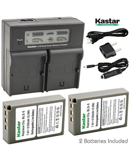 Kastar LCD Dual Fast Charger & 2 x Battery for Olympus BLS-5 PS-BLS5 Olympus OM-D E-400 E-410 E-420 E-450 E-600 E-620 E-P1 E-P2 E-P3 E-PL1 E-PL2 E-PLE15 E-PM1 E-PM2 E-M10 E-PL6 E-PL5 stylus 1 Camera