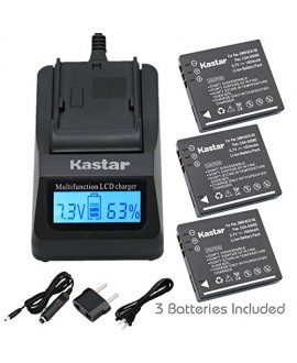 Kastar Ultra Fast Charger(3X faster faster than the normal) Kit and Battery (3-Pack) for Panasonic Lumix CGA-S008, CGA-S008A, CGA-S008A/1B, CGA-S008E, CGA-S008E/1B, DMW-BCE10, DMW-BCE10PP, DMW-BCE10E, VW-VBJ10, VW-VBJ10E, DE-A40 and Panasonic Lumix DMC-FS