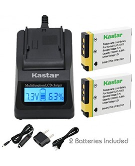 Kastar Ultra Fast Charger(3X faster) Kit and Battery (2-Pack) for Kodak KLIC-7003, K7003, and GE GB-40 work for Kodak EasyShare M380, EasyShare M381, EasyShare M420, EasyShare V803, EasyShare V1003, EasyShare Z950 and GE E1030, E1040, E1050TW, E1240, E125