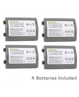 Kastar Battery (4-Pack) for Nikon EN-EL18, EN-EL18a, ENEL18, ENEL18a, MH-26, MH-26a, MH26 and Nikon D4, D4S, D5 Digital SLR Camera, Nikon MB-D12, D800, D800E Battery Grip
