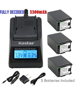 Kastar Ultra Fast Charger Kit + BP-828 Battery (3-Pack) for Canon BP-828 and Canon VIXIA HF G30, XA20, XA25 Camcorders [Over 3x faster than a normal charger with portable USB charge function]