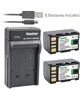 Kastar Battery (X2) & Slim USB Charger for JVC BN-VF815 BNVF815 and Everio GC-PX10 GC-PX100 GS-TD1 GZ-HD300 GZ-HD320 GZ-HM1 GZ-HM200 GZ-HM400 GZ-MG630 GZ-MG650 GZ-MG670 GZ-MG680 GZ-MS120 GZ-MS130