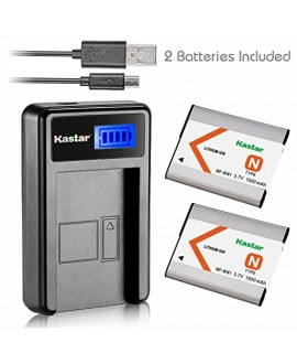 Kastar Battery (X2) & LCD Slim USB Charger for Sony NP-BN1 NPBN1 BC-CSN and Cyber-shot DSC-QX10 QX30 QX100 DSC-TF1 DSC-TX10 TX20 TX30 DSC-W530 DSC-W570 DSC-W650 DSC-W800 DSC-W830 Digital Camera +More