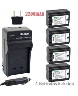Kastar Battery (4-Pack) and Charger Kit for Panasonic VW-VBK180 work with Panasonic HC-V10, HC-V100, HC-V100M, HC-V500, HC-V500M, HC-V700, HC-V700M, HDC-HS60, HDC-HS80, HDC-SD40, HDC-SD60, HDC-SD80, HDC-SD90, HDC-SDX1H, HDC-TM40, HDC-TM41, HDC-TM55, HDC-T