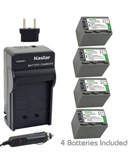 Kastar Battery (4-Pack) and Charger Kit for Sony NP-FP90, NP-FP91 work with Sony DCR-30, DVD92, DVD103, DVD105, DVD202, DVD203, DVD205, DVD304, DVD305, DVD403, DVD404, DVD405, DVD505, DVD602, DVD605, DVD653, DVD703, DVD705, DVD755, DVD803, DVD805, DVD905,