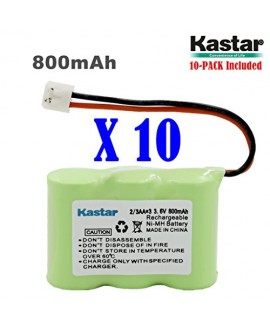 Kastar 10-PACK 2/3AA 3.6V 800mAh EH Ni-MH Rechargeable Battery for AT&T 2422 80-5074-00-00 Lucent 2422 Vtech ia5870 ia5882 Sanik 3SN-2/3AA30-S-J1 Cordless Phone (Check your Cordless Phone Model down)