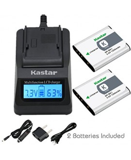 Kastar Ultra Fast Charger Kit and Battery (2-Pack) for Sony NP-BK1, BC-CSK work with Sony Bloggie MHS-CM5, MHS-PM5, Cyber-shot DSC-S750, DSC-S780, DSC-S950, DSC-S980, DSC-W180, DSC-W190, DSC-W370, Webbie MHS-PM1 Cameras [Over 3x faster than a normal charg