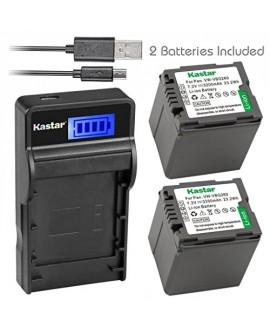 Kastar Battery (X2) & SLIM LCD Charger for Panasonic VW-VBG070, VW-VBG130, VWVBG260, VBG6 and SDR-H40, SDR-H80 Series, HDC-HS700, TM700, HS300, TM300, HS250, SD20, HS20, HDC-SDT750 Camcorders etc.