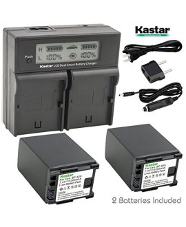 Kastar LCD Dual Fast Charger & 2 x Battery for Canon BP-828 BP828 and Canon VIXIA HF G30, XA20, XA25 Camcorders