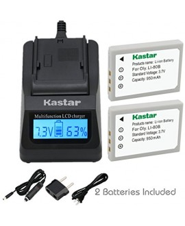 Kastar Ultra Fast Charger(3X faster) Kit and Battery (2-Pack) for Olympus Li-80B and Konica Minolta NP-900 work with Olympus T-100,t-110,x-36 and Konica Minolta DiMAGE E40, E50, KYOCERA EZ4033 etc. Cameras [Over 3x faster than a normal charger with portab