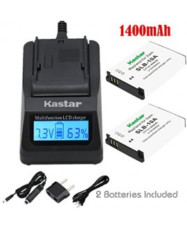 Kastar Ultra Fast Charger (3X faster) Kit and Battery (2-Pack) for Samsung SLB-10A and JVC BN-VH105 work with Samsung ES50, ES55, ES60, EX2F, HMX-U10, HMX-U20, HZ10W, HZ15W, IT100, L100, L110, L200, L210, L310W, M100, M110, M310W, NV9, P800, P1000, PL50,