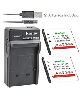 Kastar Battery (X2) & Slim USB Charger for Casio NP-120, NP120, CNP120 and Casio Exilim EX-S200 EX-S300 EX-Z31 EX-Z680 EX-Z690 EX-ZS10 EX-ZS12 EX-ZS15 EX-ZS20 EX-ZS26 EX-ZS30 Digital Camera
