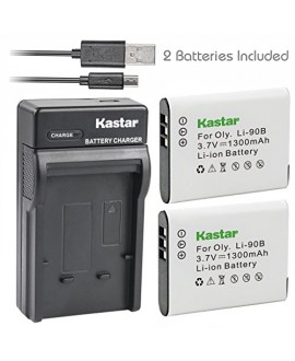 Kastar Battery (X2) & Slim USB Charger for Olympus Li-90B Li-92B and Tough TG-Tracker, SH-1, SH-2, SP-100, SP-100 IHS, SP-100EE, TG-1 iHS, TG-2 iHS, TG-3, TG-4, SH-50 iHS, SH-60, XZ-2 iHS Camera