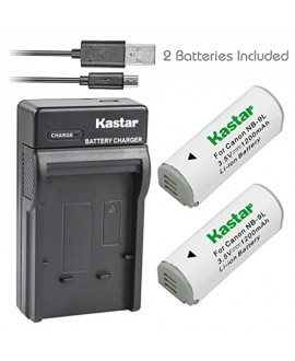 Kastar Battery (X2) & Slim USB Charger for Canon NB-9L and Canon PowerShot N, PowerShot N2, PowerShot SD4500, PowerShot SD4500 IS, PowerShot ELPH 510 HS, PowerShot ELPH 520 HS, PowerShot ELPH 530 HS