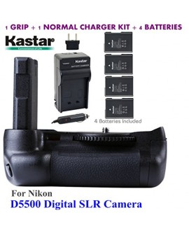 Kastar Pro Multi-Power Vertical Battery Grip + 4x EN-EL14 EN-EL4a Replacement Batteries + Charger Kit for Nikon D5500 Digital SLR Camera