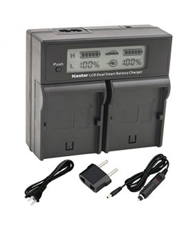 Kastar LCD Dual Fast Charger for Panasonic VW-VBG070, VW-VBG130, VWVBG260, VW-VBG6 and Panasonic SDR-H40, SDR-H80 Series, HDC-HS700, TM700, HS300, TM300, HS250, SD20, HS20, HDC-SDT750 Camcorders etc.