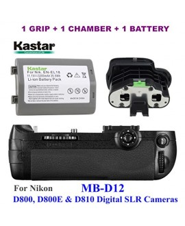 Kastar Pro Multi-Power Vertical Battery Grip (Replacement for MB-D12) + Replacement BL-5 Battery Chamber Cover + EN-EL18 Battery for Nikon D800, D800E & D810 Digital SLR Cameras