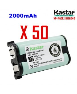 Kastar HHR-P513 Battery (50-Pack), Type 27, NI-MH Rechargeable Cordless Telephone Battery 2.4V 2000mAh, Replacement for Panasonic HHR-P513 HHR-P513A HHR-P513A1B HRR-P513A1B KX-TG2208 KX-TG2208B KX-TG2208W KX-TG2214 KX-TG2214B KX-TG2214S KX-TG2214W KX-TG22