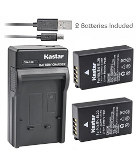Kastar Battery (X2) & Slim USB Charger for Nikon EN-EL20, ENEL20, EN-EL20a and Nikon Coolpix A, Nikon 1 AW1, 1 J1, 1 J2, 1 J3, 1 S1, 1 V3, and Blackmagic Pocket Cinema Cameras
