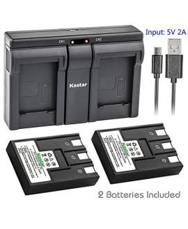 Kastar 2x Battery + USB Dual Charger for Canon NB-3L PowerShot SD10 SD100 SD110 SD20 SD500 SD550 Digital IXUS 700 750, i, i5, II, IIs, IXY Digital 30, 30a, 600, 700, D30, D30a, D53Z, IXY Digital L, L2