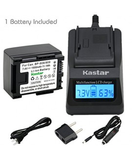 Kastar Ultra Fast Charger(3X faster) Kit and Battery (1-Pack) for Canon BP-809, BP-819, BP-827 Work with Canon FS10, FS11, FS100, FS21, FS22, FS200, FS31, FS300, VIXIA HF10, HF11, HF100, HF20, HF200, HF S10, S100, S20, S21, S200, HG20, HG21, HG30, G10, M3
