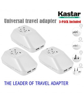 Kastar 3-PACK Safety International Power Adapter, Universal World-Wide Travel AC Adapter with 2.1A Dual USB Charger All-in-one AC Power Plug For AUS USA EU UK (WHITE COLOR)