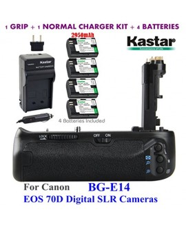 Kastar Pro Multi-Power Vertical Battery Grip (Replacement for BG-E14) + 4x LP-E6 Replacement Batteries + Charger Kit for Canon EOS 70D Digital SLR Cameras