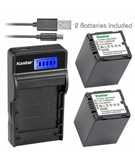 Kastar Battery (X2) & SLIM LCD Charger for Panasonic CGA-DU21 and NV-GS40 GS44 GS47 GS50 GS55 GS58 PV-GS150 GS200 GS300 GS320 GS400 GS500 SDR-H250 H280 VDR-D258 D300 D308 D310 D400 M74 M75 M95 M250