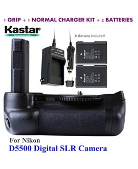 Kastar Pro Multi-Power Vertical Battery Grip + 2x EN-EL14 EN-EL4a Replacement Batteries + Charger Kit for Nikon D5500 Digital SLR Camera