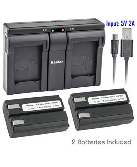 Kastar ENEL1 2x Battery + USB Dual Charger for Nikon ENEL1, Minota NP-800 and Nikon Cooipix 4300 4500 4800 5400 5700 775 8700 880 885 995 Coolpix E880 and Konica Minota DG-5W Dimage A200 Cameras