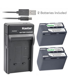 Kastar Battery (X2) & Slim USB Charger for Samsung SB-LSM320 and SC-D351 VP-D351 VP-D351i VP-D352 VP-D352i VP-D353 VP-D353i VP-D354 VP-D354i VP-D647 VP-D651 VP-D653 VP-DC161 VP-DC161i DC163 DC163i