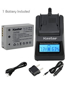 Kastar Ultra Fast Charger Kit and Battery (1-Pack) for Canon NB-10L, CB-2LC and Canon PowerShot G1 X, PowerShot G15, PowerShot G16, PowerShot SX40 HS, PowerShot SX50 HS, PowerShot SX60 HS