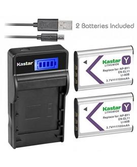 Kastar Battery (X2) & SLIM LCD Charger for NP-BY1 EN-EL11 LI-60B DLI-78 DB-L70 DB-80 and Sony Action Cam Mini HDR-AZ1 Nikon Coolpix S550 S560 Olympus FE-370 Pentax Optio L50 M50 M60 S1 V20 W60 W80