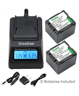 Kastar Ultra Fast Charger(3X faster) Kit and CGA-DU14 Battery (2-Pack) for Panasonic CGA-DU06, CGA-DU07, CGA-DU14, CGA-DU21, VW-VBD070 VBD140 VBD210 work with Panasonic NV-GS330, GS400, GS408, GS500, GS508, MX500, PV-GS90, GS120, GS150, GS180, GS320, GS40