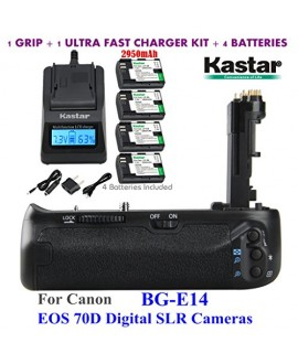 Kastar Pro Multi-Power Vertical Battery Grip (Replacement for BG-E14) + 4x LP-E6 Replacement Batteries + Ultra Fast Charger Kit for Canon EOS 70D Digital SLR Cameras