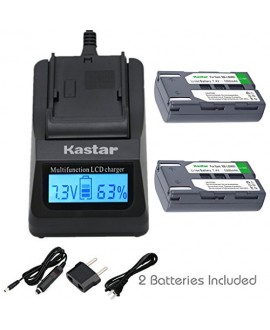 Kastar Fast Charger and Battery (2-Pack) for Samsung SB-LSM80 and SC-D351 VP-D351 VP-D351i VP-D352 VP-D352i VP-D353 VP-D353i VP-D354 VP-D354i VP-D647 VP-D651 VP-D653 VP-DC161 VP-DC161i DC163 DC163i